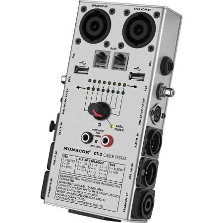 Monacor Kabel tester voor XLR, 6.3 mm jack, RCA, Din, Speakon, USB, RJ45 model CT-3